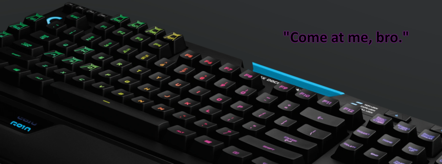 """Hero image of keyboard with """"Come at me, bro"""" as a caption"""