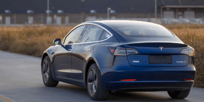 Tesla Model 3 from the back